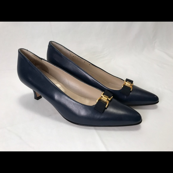 26948ec98fd Bally Shoes - Bally Low Heels Dark Blue Leather With Bow 8 N